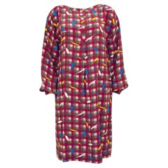 1980's Basile Check and Feather Print Silk Dress