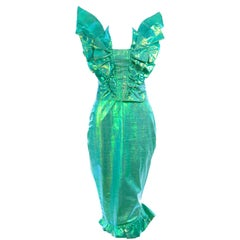 1980s Bastet London 2 Pc  Vintage Iridescent Green Mermaid Dress With Ruffles