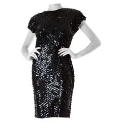 1980S Black Beaded Polyester Jersey Body-Con Cocktail Dress