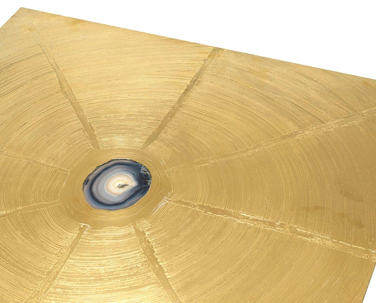Belgian Modern (1980s) square acid etched brass coffee table with a centered inset agate stone on a pedestal base (signed on top GEORGE MATHIAS)
