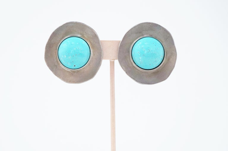 Women's 1980s Ben Amun Silver Disc & Faux Turquoise Oversized Statement Earrings, Signed For Sale