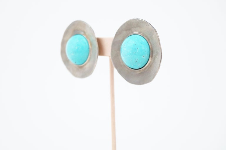 1980s Ben Amun Silver Disc & Faux Turquoise Oversized Statement Earrings, Signed For Sale 1