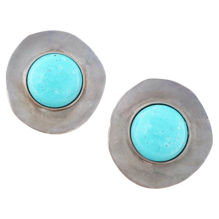 1980s Ben Amun Silver Disc & Faux Turquoise Oversized Statement Earrings, Signed For Sale