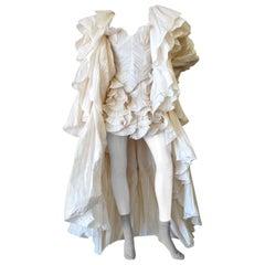 1980s Bernard Perris Couture Cream Silk Crepe Opera Coat