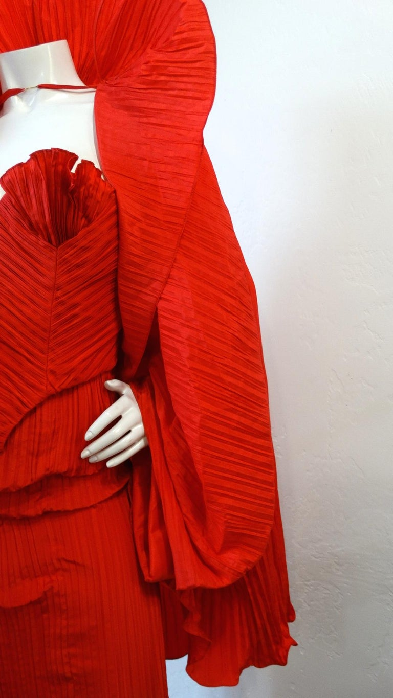 1980s Bernard Perris Couture Silk Crepe Cape For Sale 6