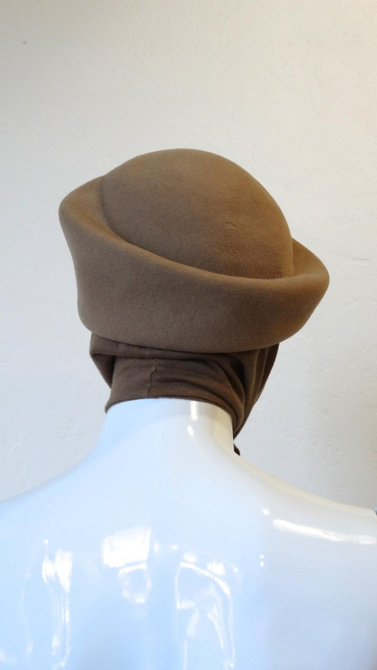 1980s Betmar Tan Wool Beret With Headwrap For Sale 6