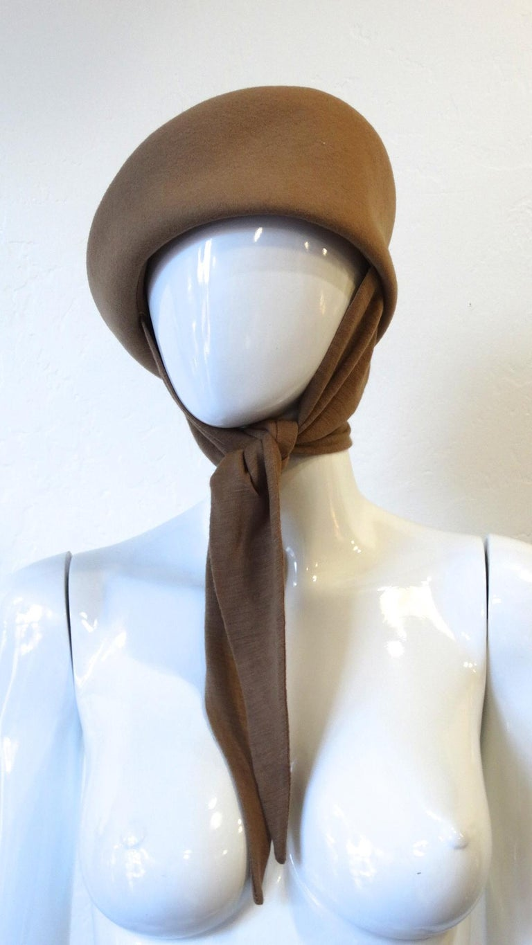 Brown 1980s Betmar Tan Wool Beret With Headwrap For Sale