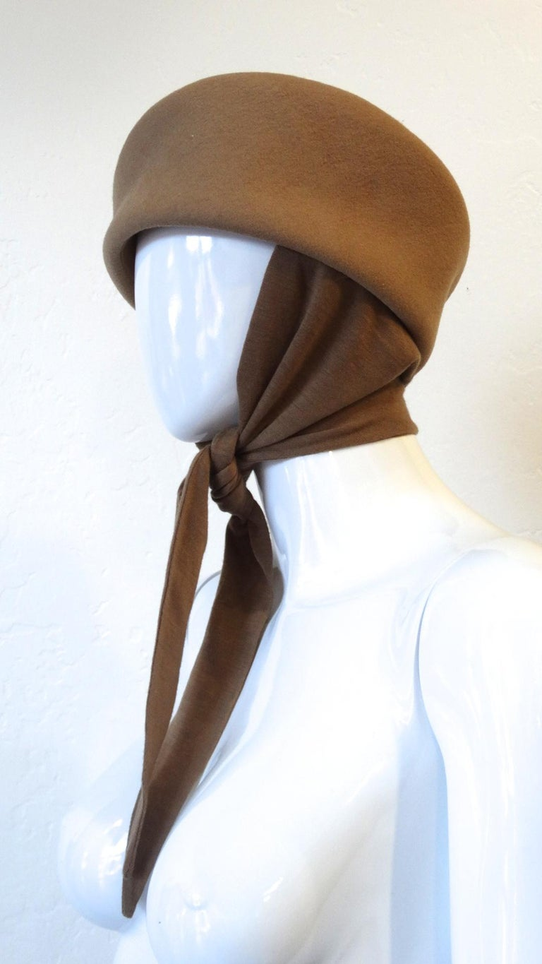 1980s Betmar Tan Wool Beret With Headwrap For Sale 1