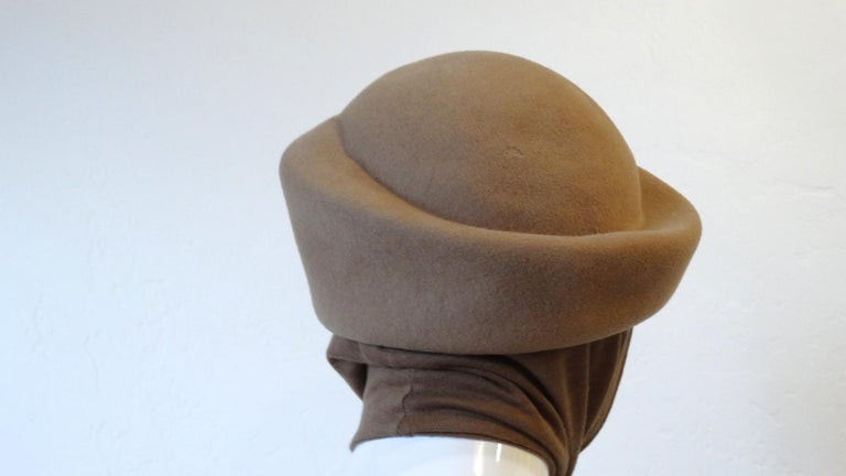 1980s Betmar Tan Wool Beret With Headwrap For Sale 2