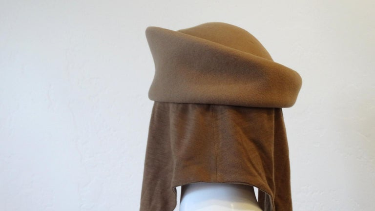 1980s Betmar Tan Wool Beret With Headwrap For Sale 4