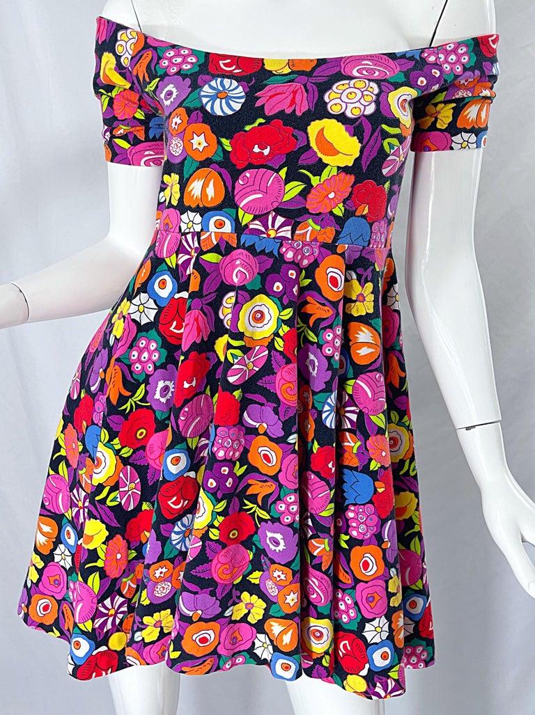 1980s Betsey Johnson Punk Label Off Shoulder Bright Flower 80s Mini Dress For Sale 5
