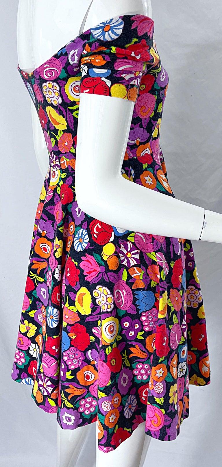 1980s Betsey Johnson Punk Label Off Shoulder Bright Flower 80s Mini Dress For Sale 7
