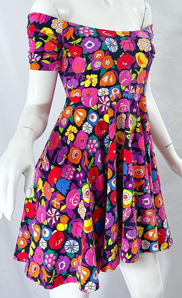1980s Betsey Johnson Punk Label Off Shoulder Bright Flower 80s Mini Dress For Sale 8