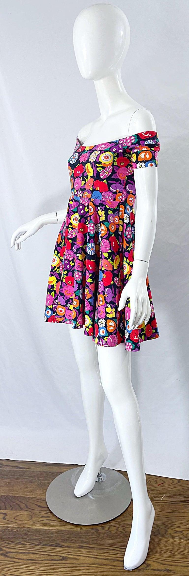 1980s Betsey Johnson Punk Label Off Shoulder Bright Flower 80s Mini Dress For Sale 9