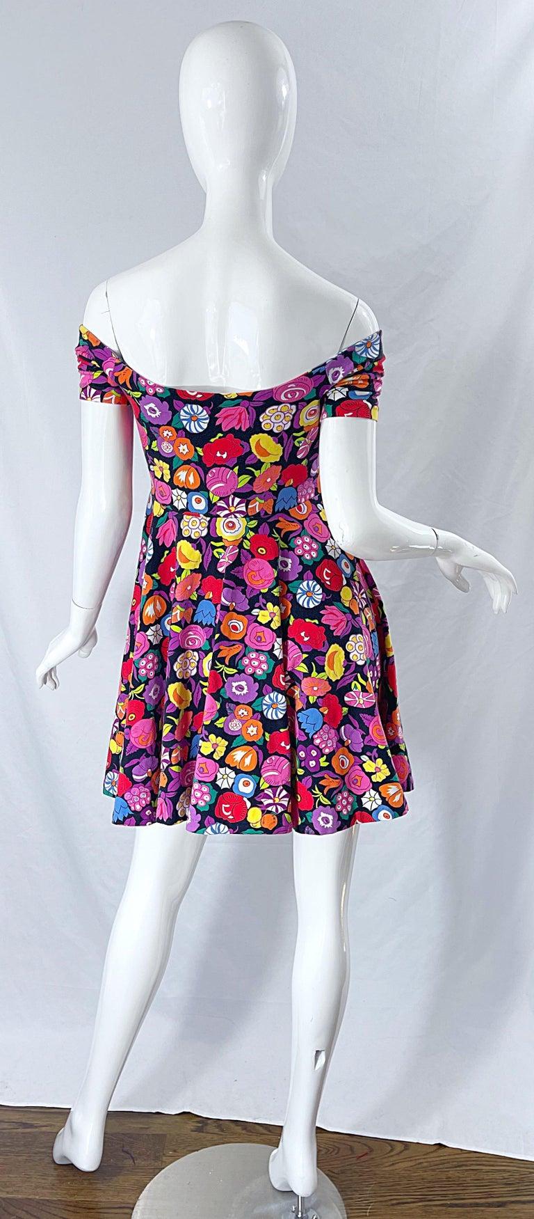 1980s Betsey Johnson Punk Label Off Shoulder Bright Flower 80s Mini Dress For Sale 10