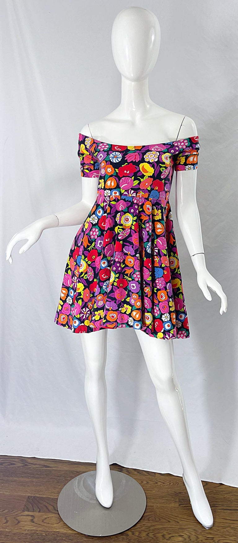 1980s Betsey Johnson Punk Label Off Shoulder Bright Flower 80s Mini Dress For Sale 11