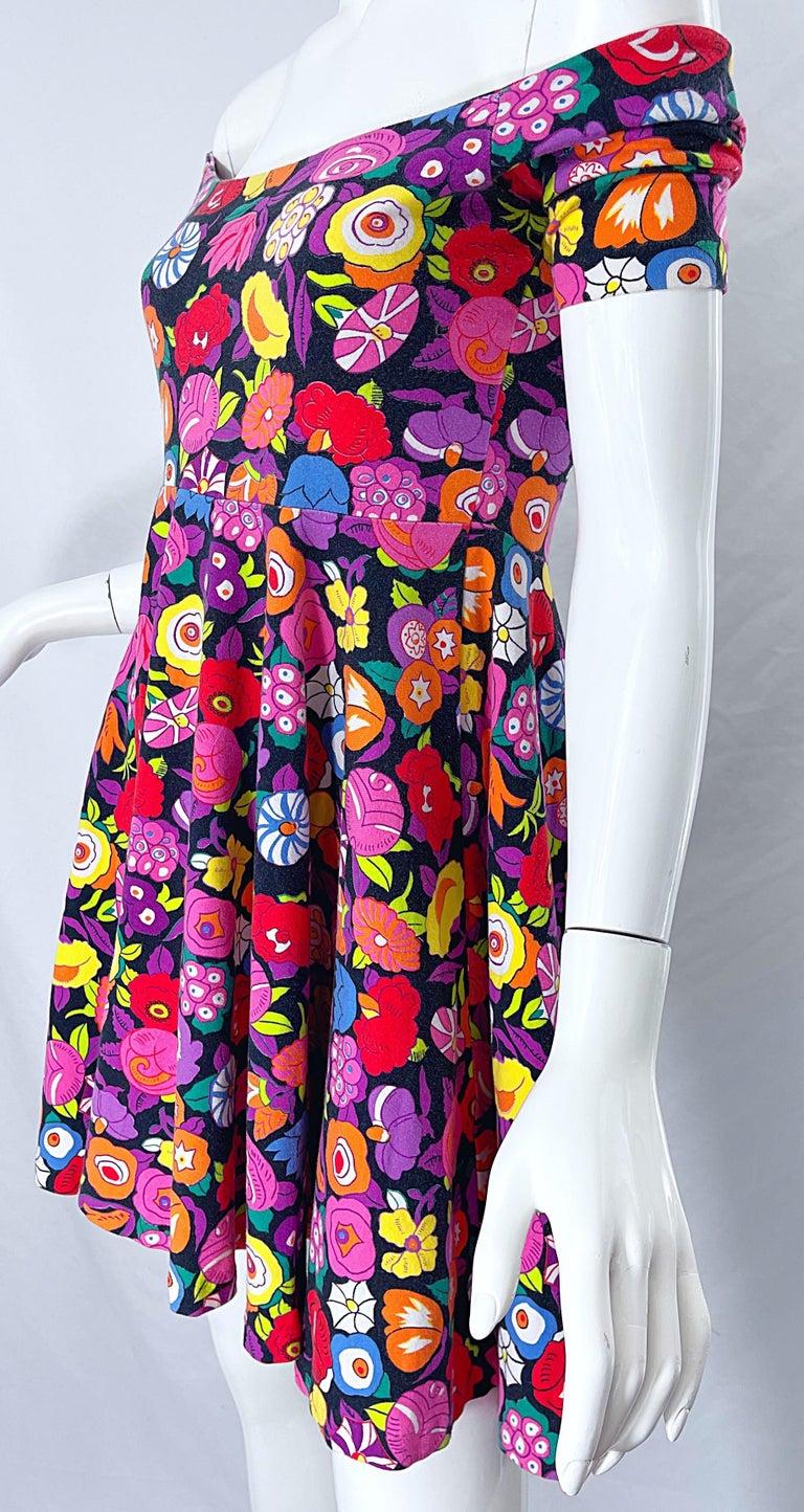 1980s Betsey Johnson Punk Label Off Shoulder Bright Flower 80s Mini Dress For Sale 1