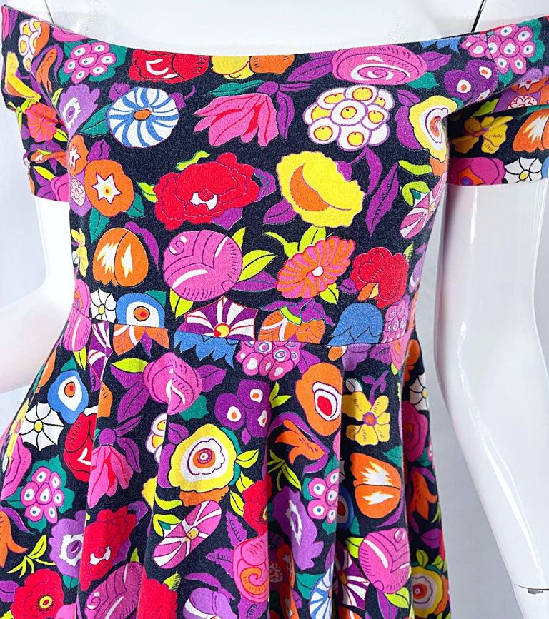 1980s Betsey Johnson Punk Label Off Shoulder Bright Flower 80s Mini Dress For Sale 2