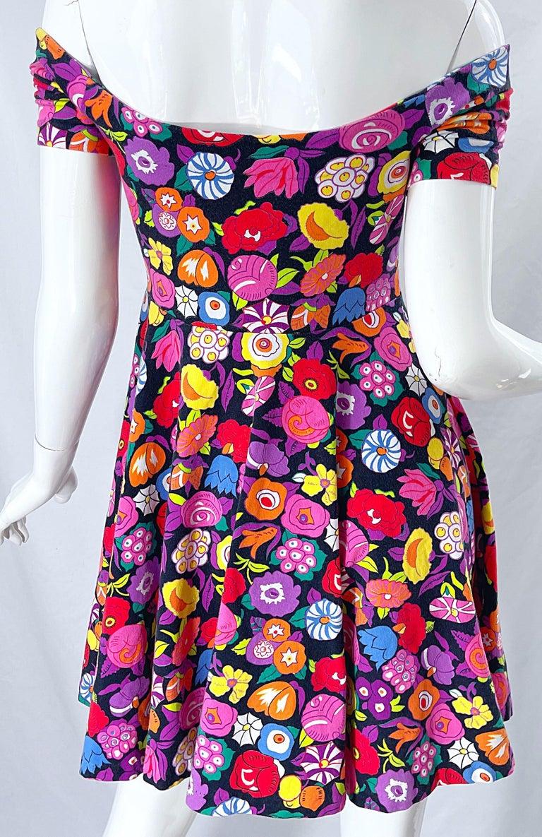 1980s Betsey Johnson Punk Label Off Shoulder Bright Flower 80s Mini Dress For Sale 3