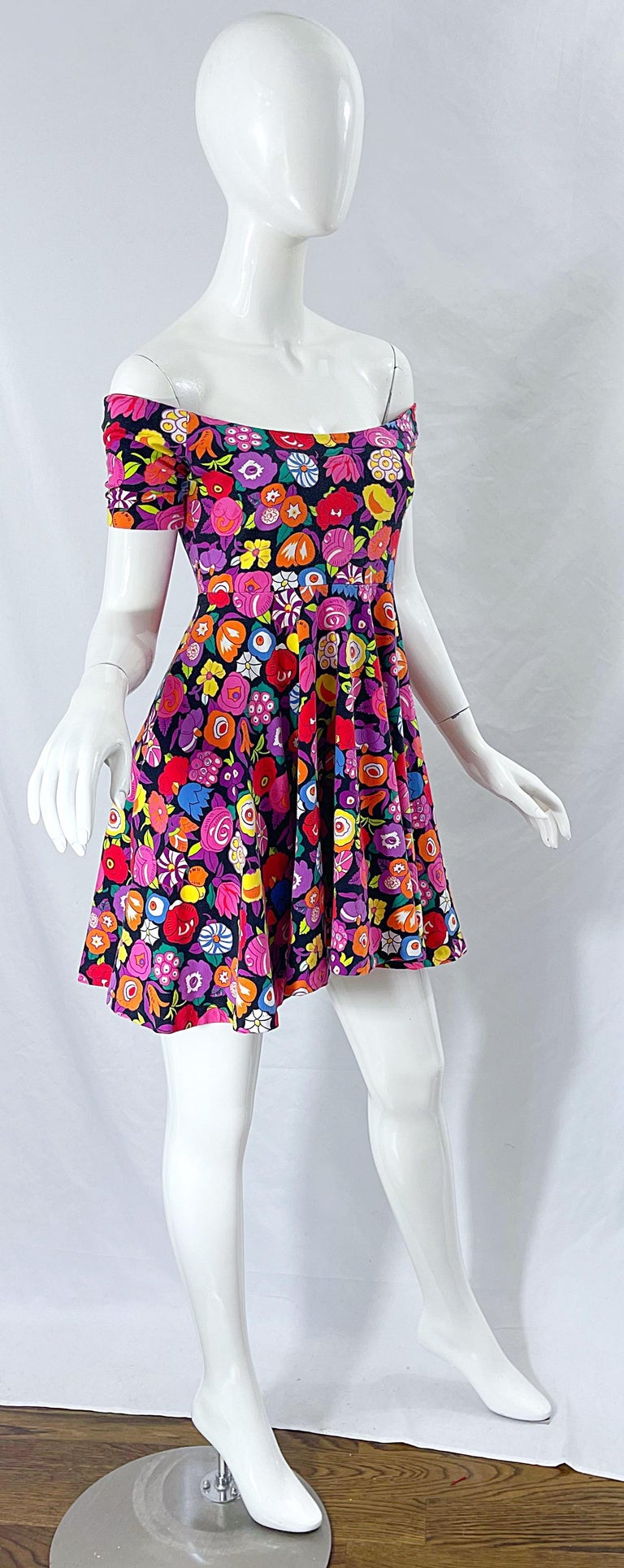 1980s Betsey Johnson Punk Label Off Shoulder Bright Flower 80s Mini Dress For Sale 4