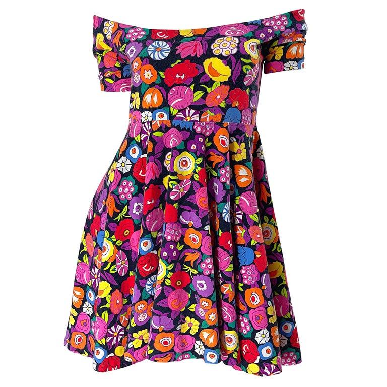 1980s Betsey Johnson Punk Label Off Shoulder Bright Flower 80s Mini Dress For Sale