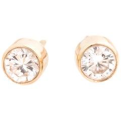 1980s Bezel Set .60 Carat Total Diamond Stud Earrings