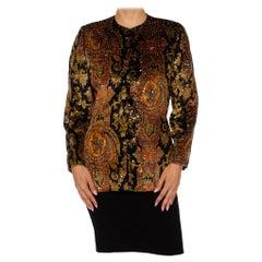 1980S BILL BLASS Black Paisley Silk Velvet Couture Hand Beaded Sequin Jacket