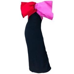 1980s Bill Blass Couture Size 6 Avant Garde Pink Red Black Vintage 80s Bow Gown