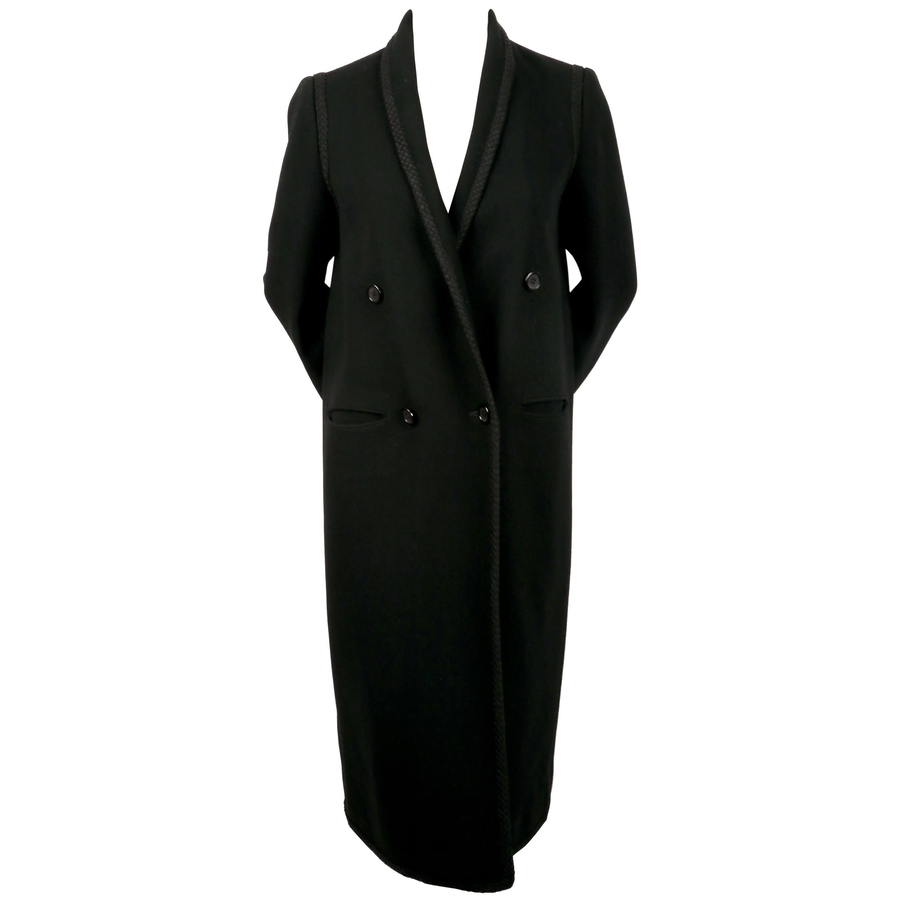 1980's BILL BLASS double breasted wool coat with cord trim