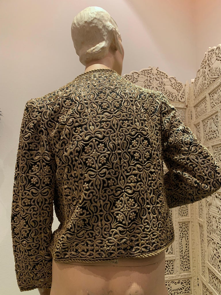 1980s  Bill Blass Evening Jacket W/ Heavily Encrusted Chain Embriodery Gold Work For Sale 6