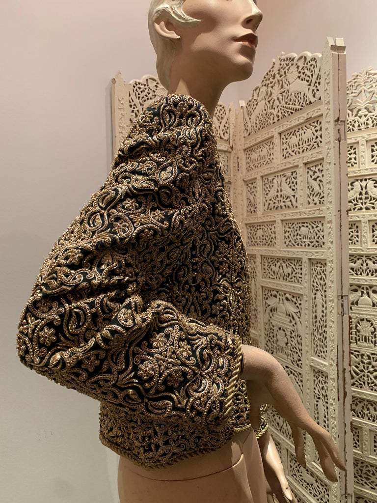 1980s  Bill Blass Evening Jacket W/ Heavily Encrusted Chain Embriodery Gold Work For Sale 8