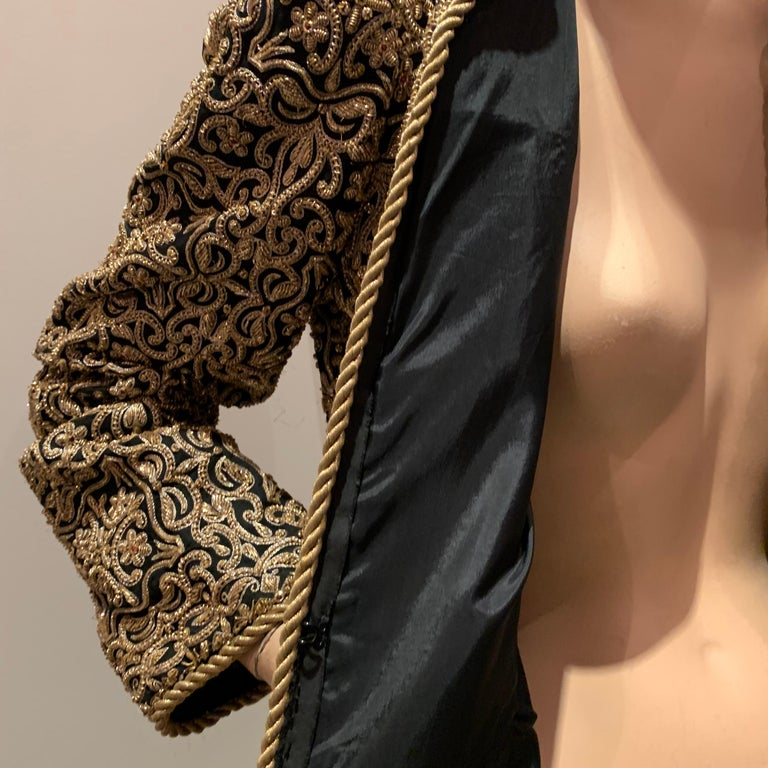 1980s  Bill Blass Evening Jacket W/ Heavily Encrusted Chain Embriodery Gold Work For Sale 10