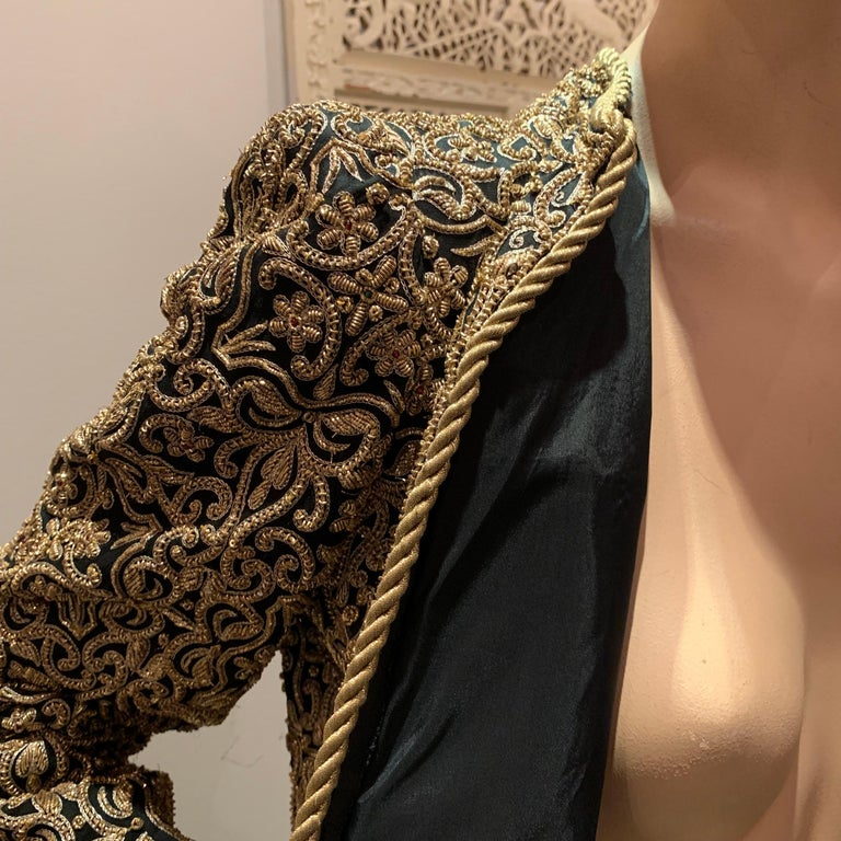 1980s  Bill Blass Evening Jacket W/ Heavily Encrusted Chain Embriodery Gold Work For Sale 11