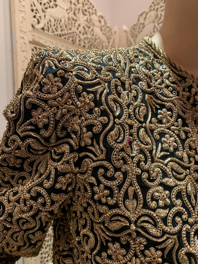 Black 1980s  Bill Blass Evening Jacket W/ Heavily Encrusted Chain Embriodery Gold Work For Sale