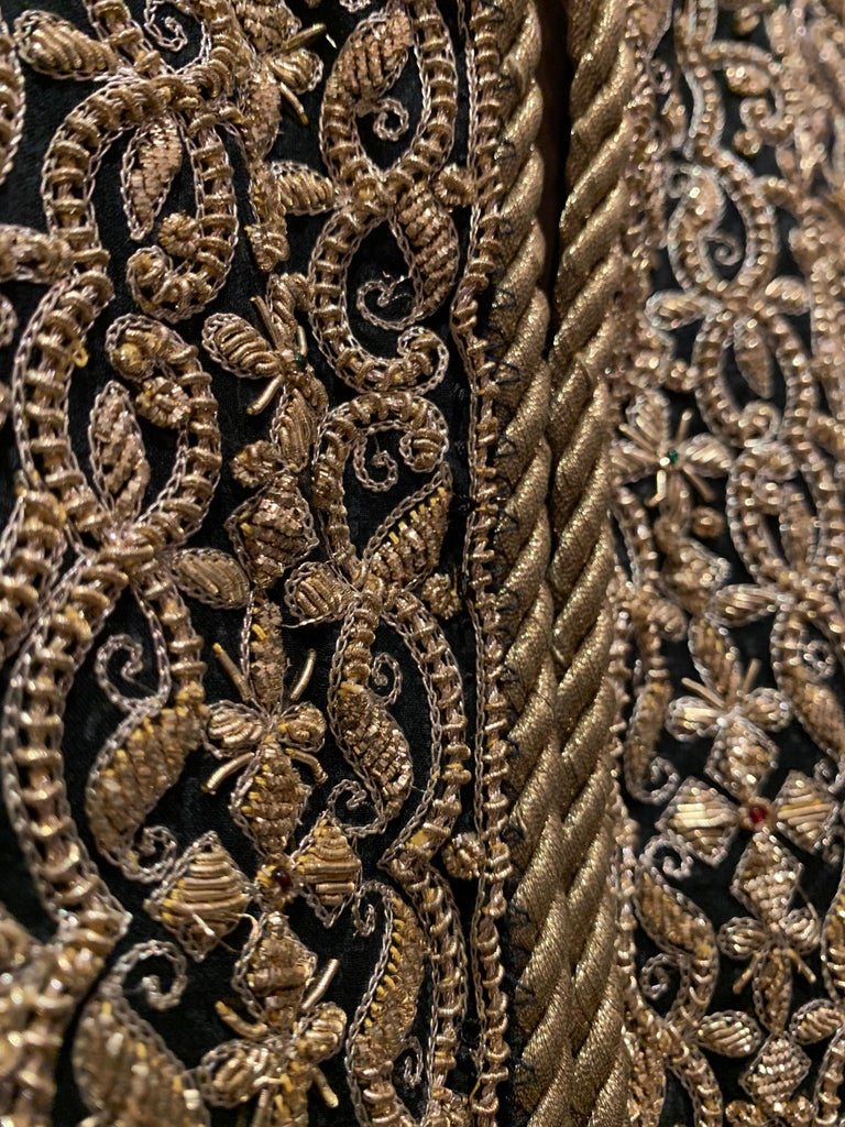 Women's 1980s  Bill Blass Evening Jacket W/ Heavily Encrusted Chain Embriodery Gold Work For Sale