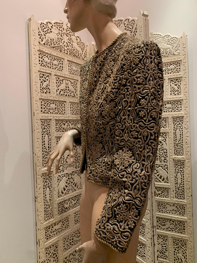 1980s  Bill Blass Evening Jacket W/ Heavily Encrusted Chain Embriodery Gold Work For Sale 2