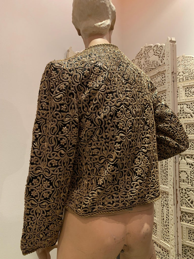 1980s  Bill Blass Evening Jacket W/ Heavily Encrusted Chain Embriodery Gold Work For Sale 3