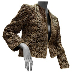 1980s  Bill Blass Evening Jacket W/ Heavily Encrusted Chain Embriodery Gold Work