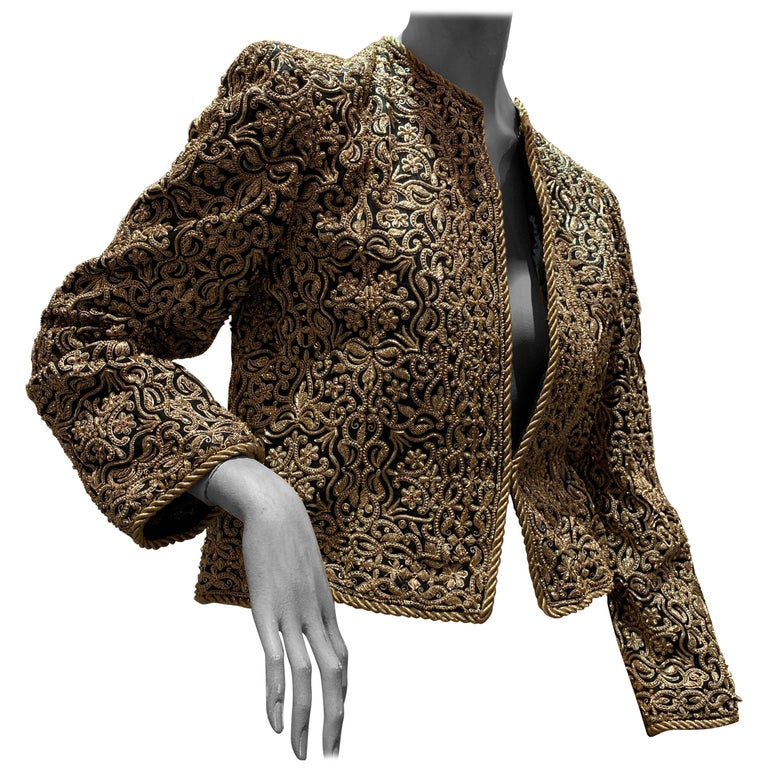 1980s  Bill Blass Evening Jacket W/ Heavily Encrusted Chain Embriodery Gold Work For Sale