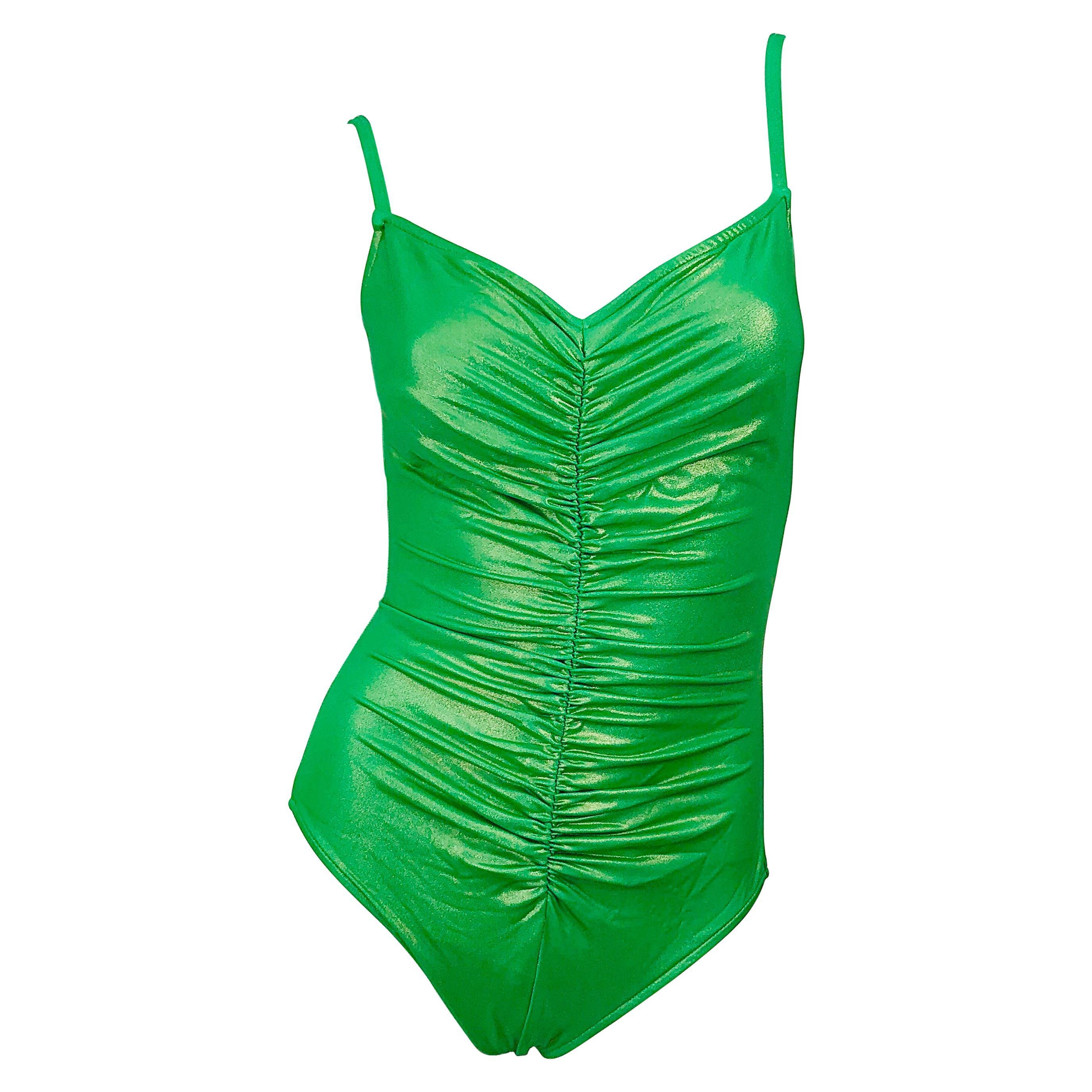 1980s Bill Blass Neon Green One Piece Ruched Vintage 80s Swimsuit / Bodysuit