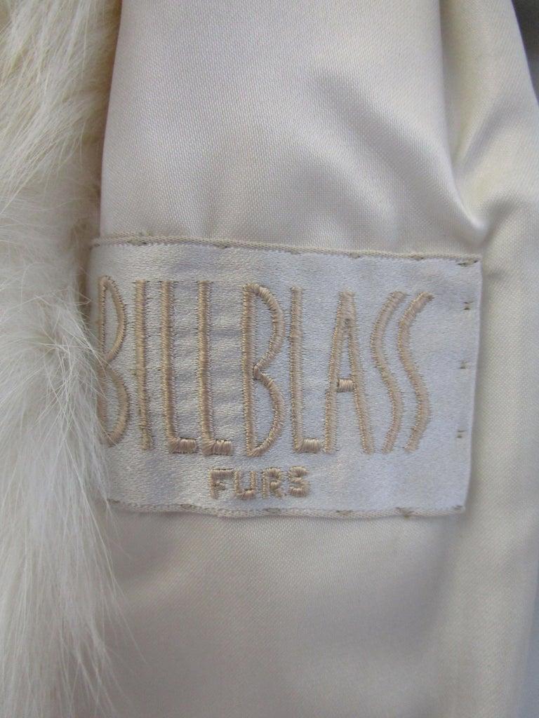 1980s  Bill Blass White Silk Lined Fox Coat  For Sale 6