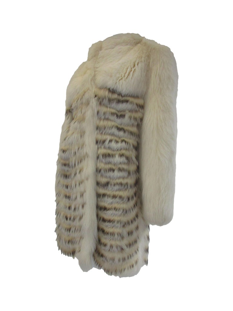 Gray 1980s  Bill Blass White Silk Lined Fox Coat  For Sale