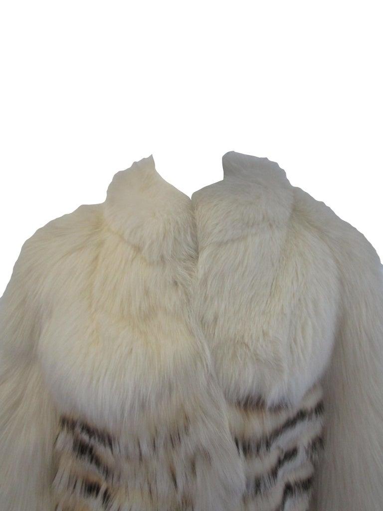 1980s  Bill Blass White Silk Lined Fox Coat  For Sale 2