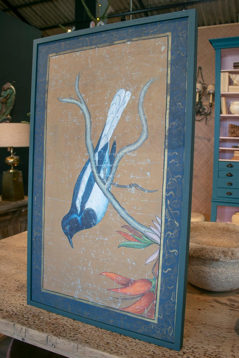 French 1980s Bird Painting on Cloth with Frame For Sale