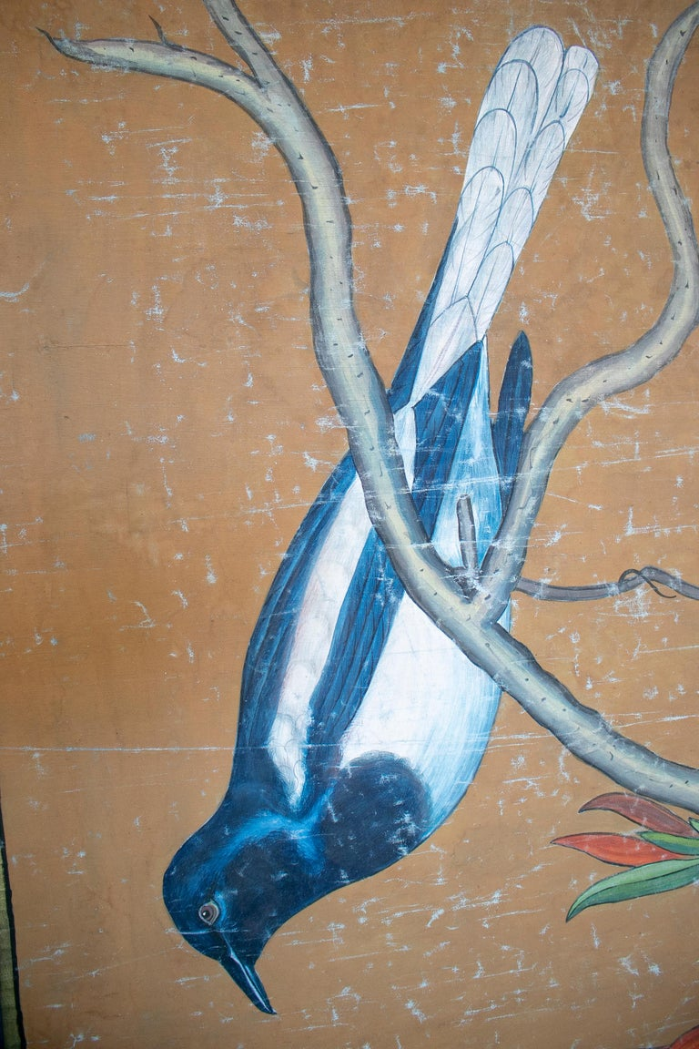 Hand-Painted 1980s Bird Painting on Cloth with Frame For Sale