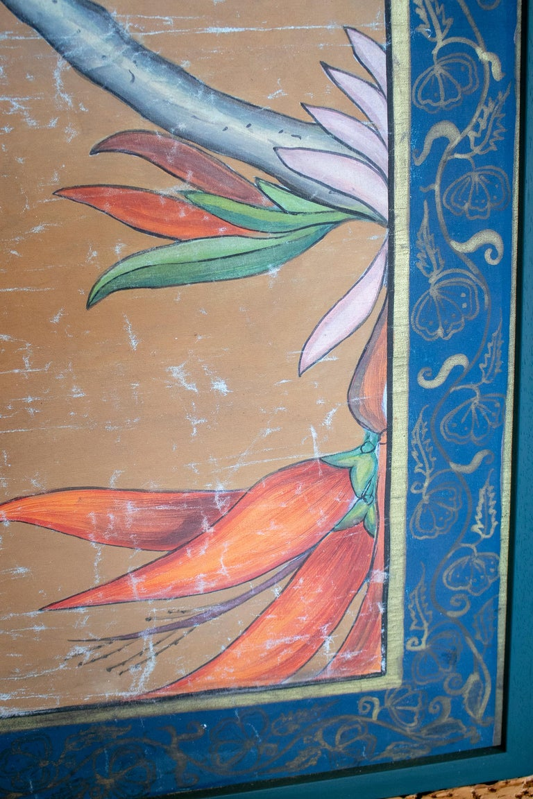 1980s Bird Painting on Cloth with Frame For Sale 1
