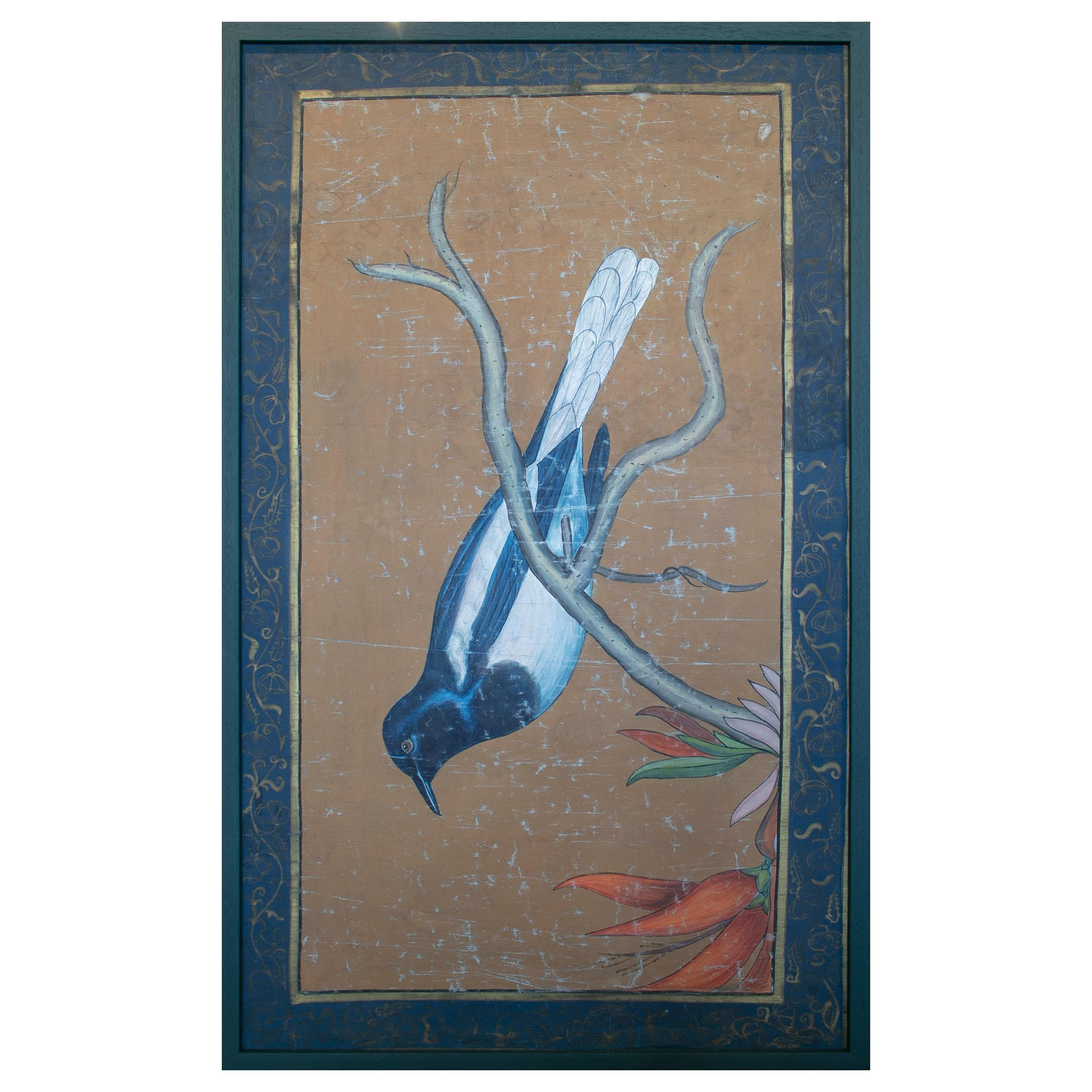1980s Bird Painting on Cloth with Frame
