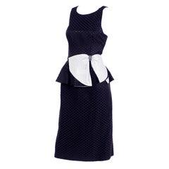Black / White Polka Dot Dress With Rhinestone Embellished Bow and Peplum, 1980s