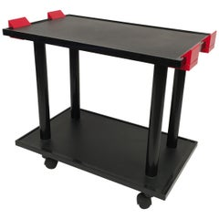 1980s Black and Red Trolley by Kartell Made in Italy