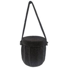 1980s Black beads satchel